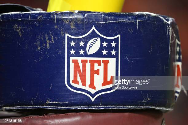 A view of the NFL logo on the goal post before an NFL game between the Los Angeles Chargers and Kansas City Chiefs on December 13 2018 at Arrowhead...