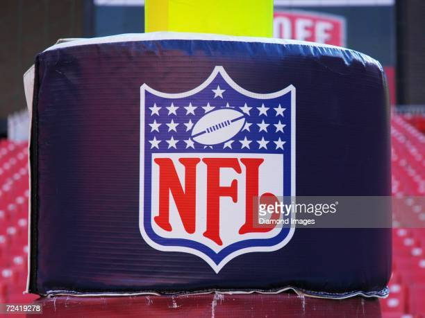 View of the NFL logo pad on the goal post prior to a game on November 5, 2006 between the Dallas Cowboys and the Washington Redskins at Fedex Field...