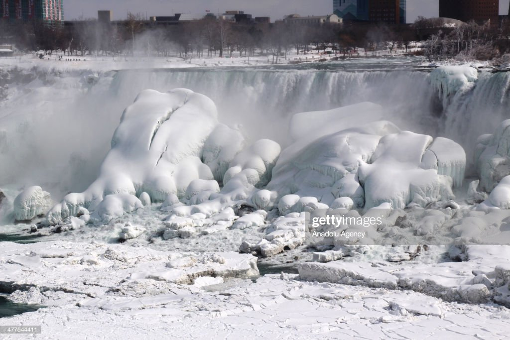 A View Of The Niagara Falls Frozen Over Due To The Extreme