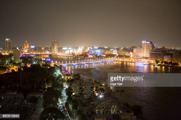 View of the Nile and old town of Cairo at night on April 10 2017 in Cairo Egypt
