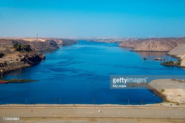 View of the Nile River from the top of the Aswan Dam Egypt
