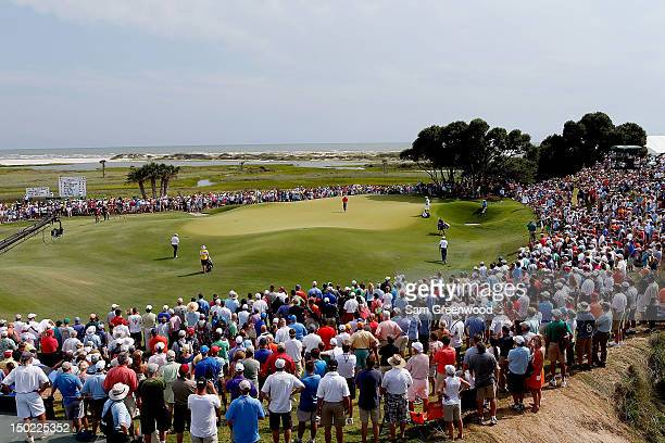 View of the ninth green as Rory McIlroy of Northern Ireland prepares to putt during the Final Round of the 94th PGA Championship at the Ocean Course...