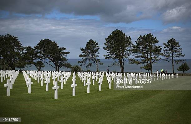 A view of the Normandy American Cemetery and Memorial at Omaha Beach on May 7 2014 in Colleville sur Mer France The Allied invasion to liberate...