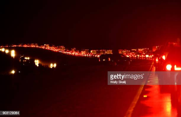 A view of the Northbound 101 freeway as traffic backs up from a road closure from a mud slide during a rain storm Tuesday January 9 2018 in...
