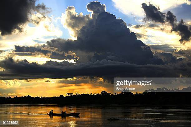 A view of the Northern Peruvian Amazon River on June 8 2007 from the town of Nauta to the town of Trometeros Peru This pristine river and massive...