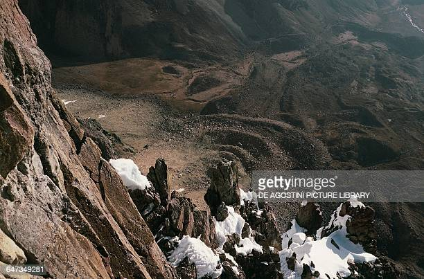 View of the northwest rocky outcrop from the northern wall Puscanturpa Norte Cordillera Huayhuash Andes Peru