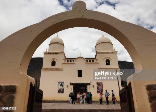 View of the 'Nuesta Senora del Rosario' parish church in Tilcara Jujuy province Argentina on February 15 2018 A popular myth tells that Argentina...