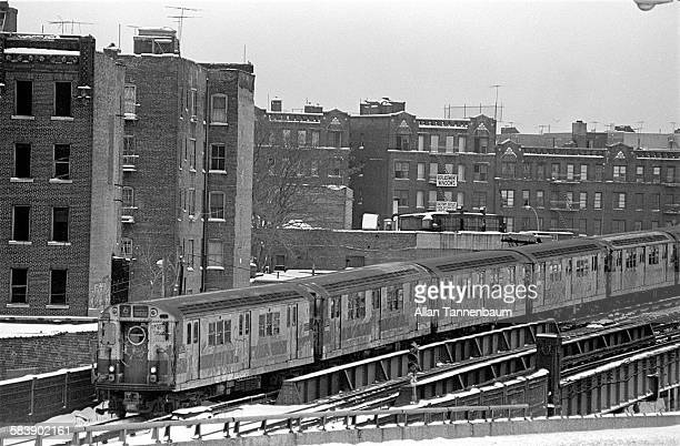 View of the number 6 local subway train as it passes through the South Bronx neighborhood New York New York 1970s