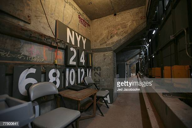 A view of the numbers used for the manual scoreboard are seen in the room behind the green monster prior to Game One of the 2007 Major League...