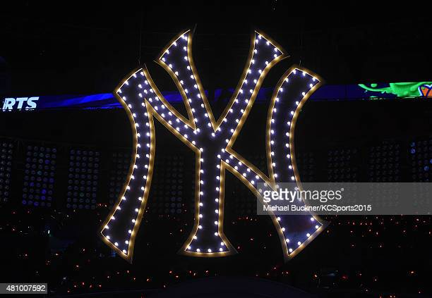 View of the NY Yankees logo onstage at the Nickelodeon Kids' Choice Sports Awards 2015 at UCLA's Pauley Pavilion on July 16 2015 in Westwood...