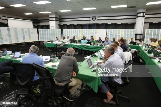 A view of the Oakland Athletics Draft Room on the opening day of the 2018 MLB Draft at the Oakland Alameda Coliseum on June 4 2018 in Oakland...