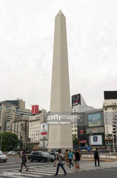 A view of the Obelisco Monument in capital Buenos Aires Argentina on January 09 2019 The historical Obelisco Monument is a tourist attraction center...