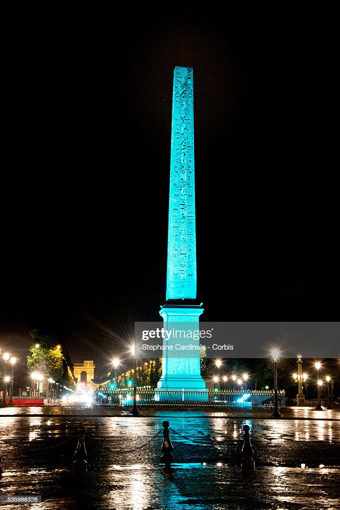 View of the Obelisk of Place de La Concorde lightning in Blue for the Tiffany & Co Flagship Opening on the Champs Elysee on June 10, 2014 in Paris, France.