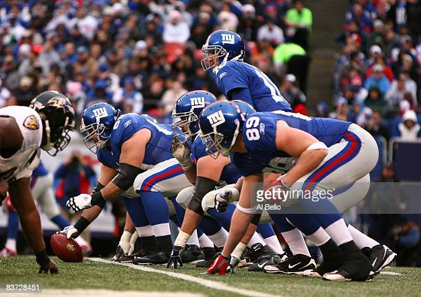 View of the offensive line of the New York Giants against the Baltimore Ravens during their game on November 16, 2008 at Giants Stadium in East...
