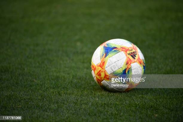 View of the official Adidas match ball during the International Friendly match between Mexico and Chile at Qualcomm Stadium on March 22 2019 in San...