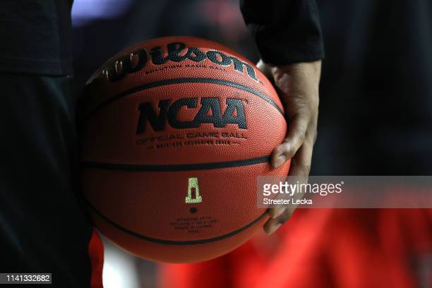 A view of the official game ball prior to the 2019 NCAA men's Final Four National Championship game between the Virginia Cavaliers and the Texas Tech...