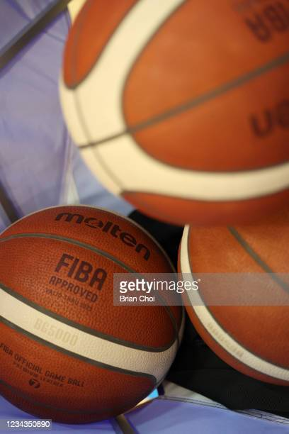 View of the official Olympic basketball during USAB Mens National Team practice on July 29, 2021 in Tokyo, Japan. NOTE TO USER: User expressly...