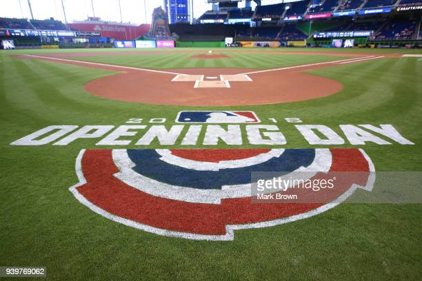 A view of the official opening day logo before Opening Day between the Miami Marlins and the Chicago Cubs at Marlins Park on March 29 2018 in Miami...