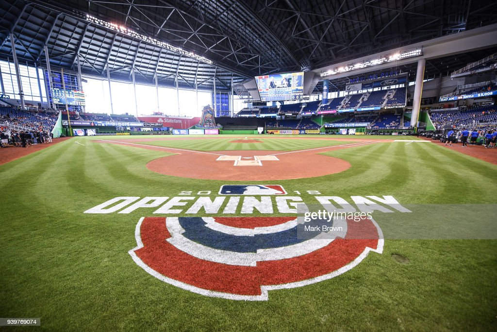 A view of the official opening day logo before Opening Day between the Miami Marlins and the Chicago Cubs at Marlins Park on March 29, 2018 in Miami, Florida.