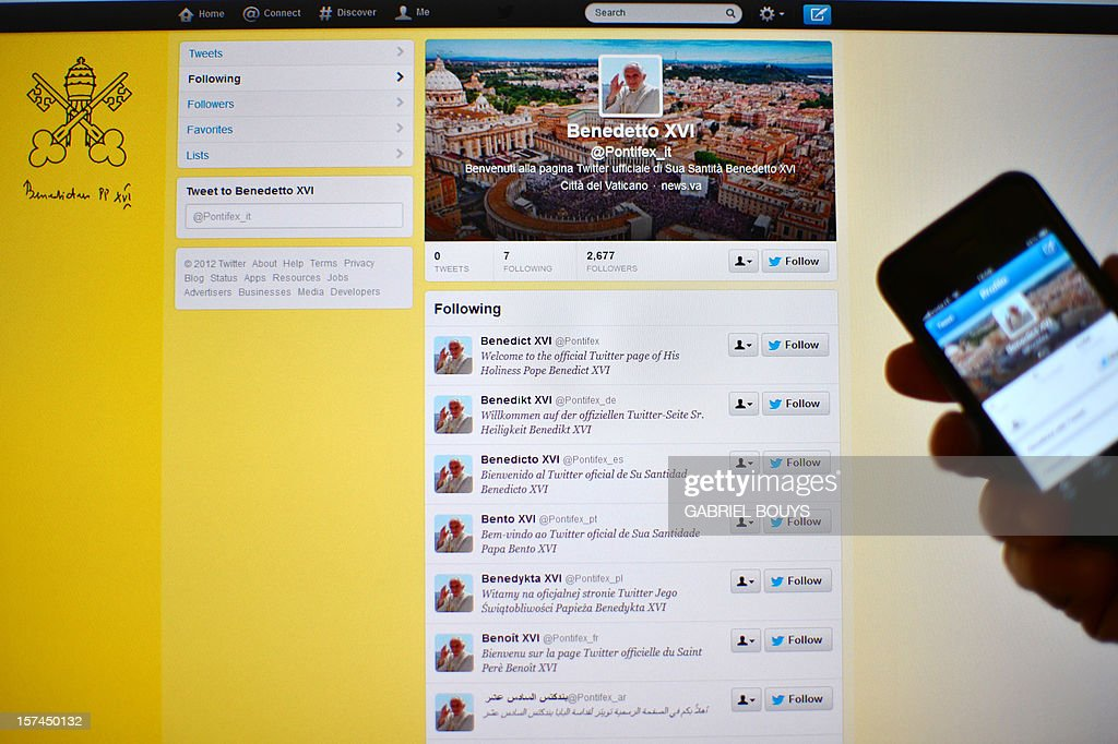 View of the official Twitter account of Pope Benedict XVI in Rome on December 3, 2012. Pope Benedict XVI will join Twitter from December 12, with regular tweets in eight languages from the account @pontifex just in time for Christmas.