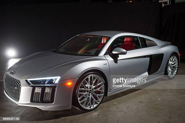 View of the official vehicle of the Emmy Awards, the Audi R8, at the 68th Emmy Awards Governors Ball and 2016 Creative Arts Balls Press Preview at...
