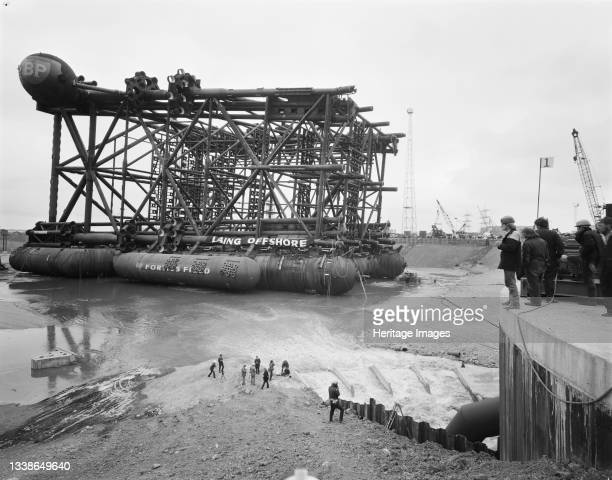 View of the oil platform Graythorp I lying in the dry dock at Graythorp during the flooding of the basin. In the early 1970s Laing Pipelines Offshore...