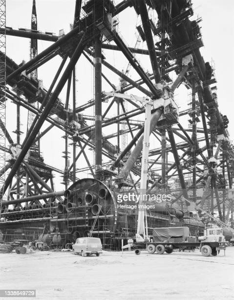 View of the oil platform Thistle A at Graythorp on the day of the naming ceremony, with an Elstree Plant platform in the foreground. In the early...