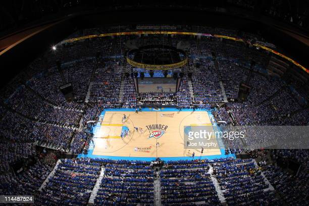 View of the Oklahoma City Arena during Game Three of the Western Conference Finals in the 2011 NBA Playoffs on May 21, 2011 at Oklahoma City Arena in...