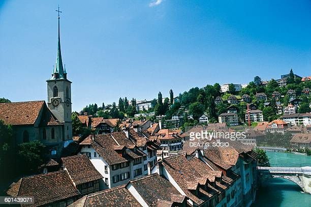 View of the Old City of Bern with Nydeggkirche bell tower 15th century Switzerland