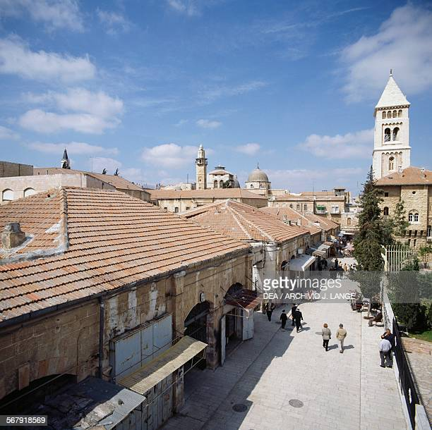 View of the Old City with the bell tower of the Lutheran Church of the Redeemer on the right Jerusalem Israel
