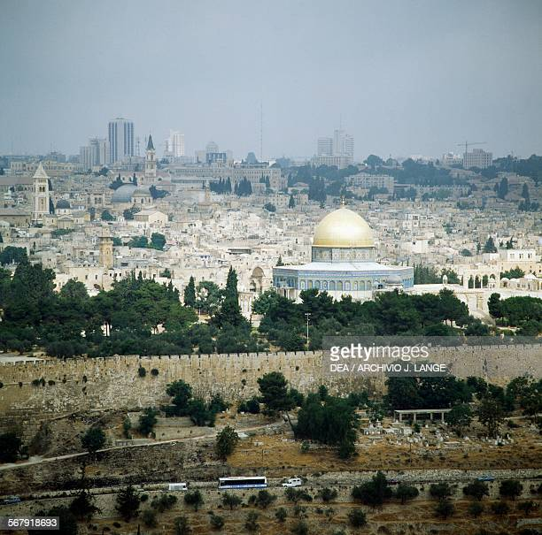 View of the Old City with the walls and the Dome of the Rock Jerusalem Israel