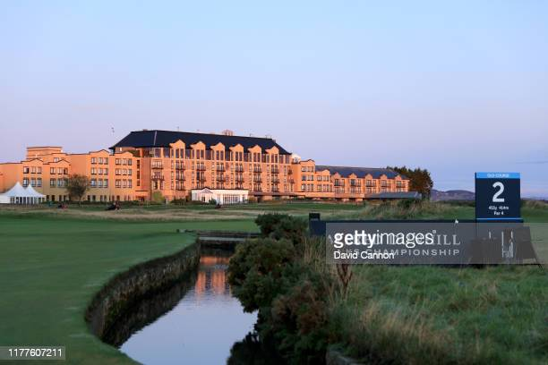 View of the Old Course Hotel in the morning light during the third round of the Alfred Dunhill Links Championship on the Old Course at St Andrews on...