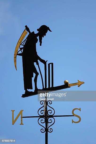 A view of the Old Father Time weather vane against a blue sky during day 3 of the First Investec Test match between England and Pakistan at Lord's...