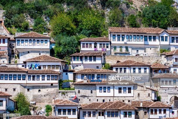 view of the old fortified city of berat, albania, unesco world heritage site. - krujë stockfoto's en -beelden