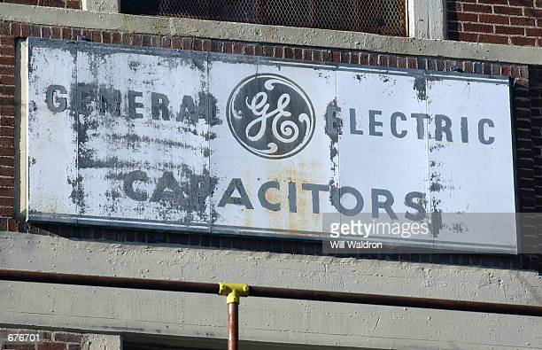 View of the old Hudson Falls General Electric plant sign December 7 2001 in Hudson Falls NY PCB oils used in the manufacturing of industrial...