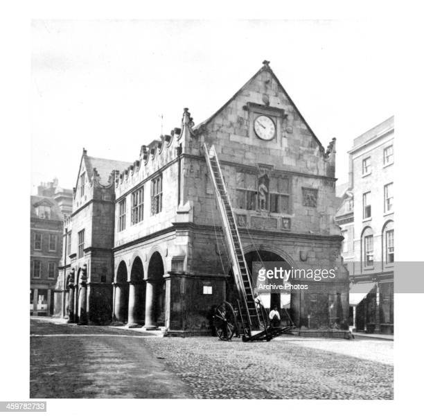 A view of the Old Market House in Shrewsbury Shropshire England Circa 1900