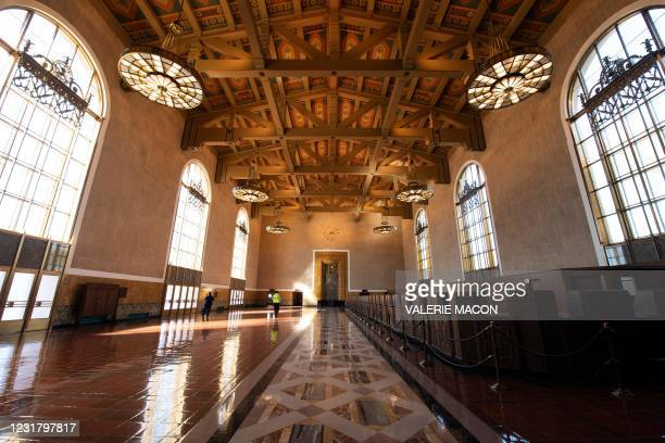 View of the old ticketing concourse at the Downtown Los Angeles Union Station on March 18 where part of the 2021 Oscars Ceremony will take place. -...