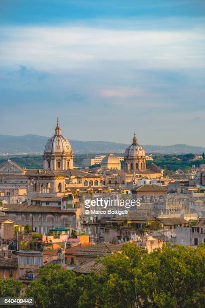 View of the old town and cupolas at sunset. Rome, Italy.