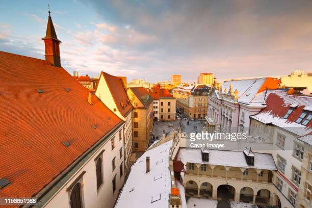 view of the old town from the tower of the city hall, bratislava. - bratislava stock pictures, royalty-free photos & images