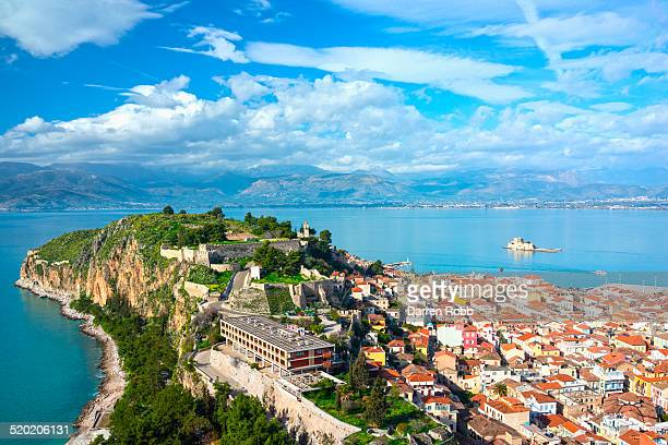 view of the old town, nafplio, argolis, greece - peloponnese stock photos and pictures
