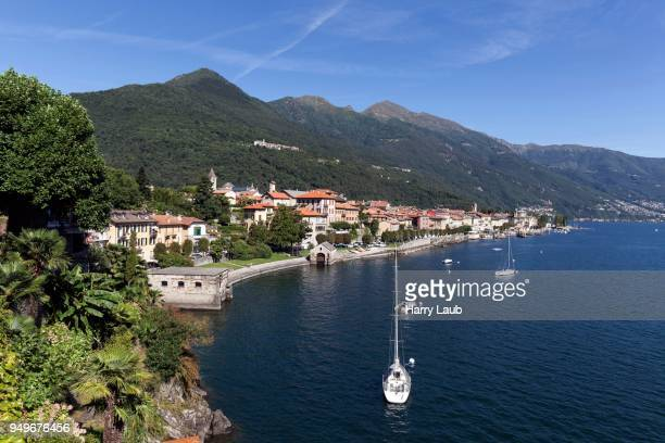 view of the old town of cannobio and the surrounding mountains, lago maggiore, verbano-cusio-ossola province, piedmont region, italy - province of verbano cusio ossola stock pictures, royalty-free photos & images