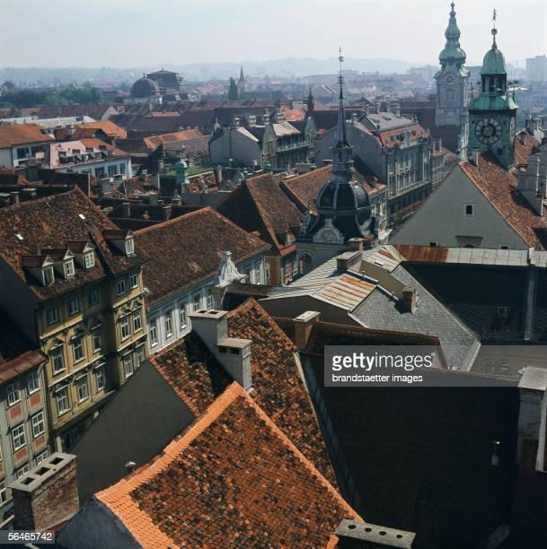 View of the Old town of Graz Styria Photography Around 1990 [Blick auf die Grazer AltstadtSteiermark Photographie Um 1990]