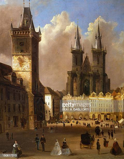 View of the old town of Prague with the church of Our Lady before Tyn by Ferdinand Lepick Czech Republic 19th Century Detail