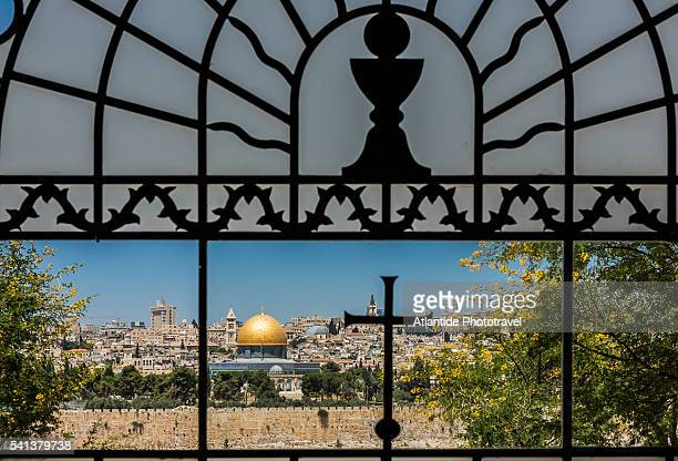 View of the Old Town with the Dome of the Rock from the Catholic Franciscan church of Dominus Flevit