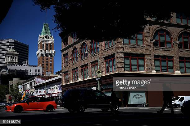 A view of the old Tribune Tower the former home of the Oakland Tribune on April 4 2016 in Oakland California After a 142 years the final edition of...