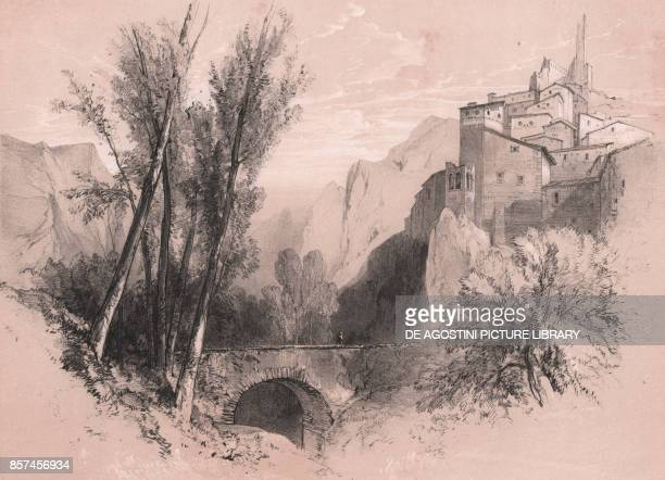 View of the old village of Pescina Abruzzo Italy drawing and lithograph in black and sepia by Edward Lear Plate 21 ca 20x26 cm from Illustrated...