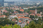 View of the Oliwa district and beyond in Gdansk, Poland, from above.