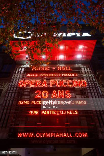 A view of the Olympia front sign after the 20 Years of Opera Puccino concert at L'Olympia on June 29 2018 in Paris France