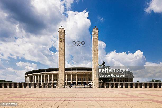 view of the olympiastadion, berlin, germany - olympiastadion berlin stock pictures, royalty-free photos & images