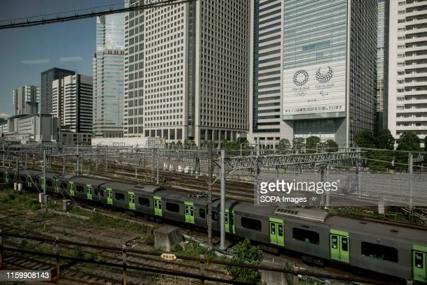 View of the Olympic 2020 decorations placed along the Yamanote line in Tokyo Tokyo is Japan's capital and one of the world's most populous metropolis
